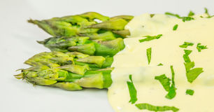 Asparagus and Hollandaise Sauce Royalty Free Stock Image