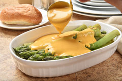 Asparagus with Hollandaise sauce Stock Photos
