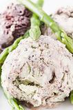 Asparagus ice cream. Scoop as close up royalty free stock photos