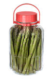 Asparagus in the jar. On white Stock Images
