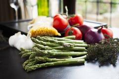 Asparagus and Linguini Horizontal Royalty Free Stock Image