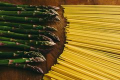 Asparagus and log pasta Pasta royalty free stock images