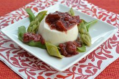 Asparagus mousse with strawberry chutney Royalty Free Stock Images