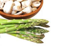 Asparagus. And  mushroom isolated on white Stock Photos