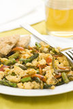 Asparagus omelette red pepper and slices of bread Royalty Free Stock Image
