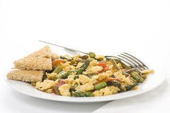 Asparagus omelette red pepper and slices of bread Stock Image