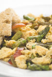Asparagus omelette red pepper and slices of bread Stock Images