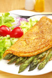 Asparagus Omelette and Salad royalty free stock photo
