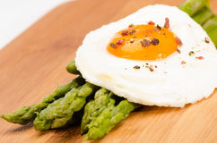 Asparagus with organic eggs Stock Photo