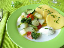 Asparagus and other vegetables with polenta Stock Photos