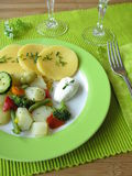 Asparagus and other vegetables with polenta Royalty Free Stock Images