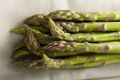 Asparagus. Over napkin organic vegetables royalty free stock images