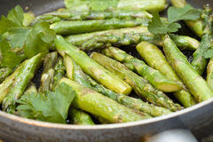 Asparagus in a pan stock images
