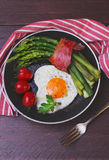 Asparagus in a pan with bacon Royalty Free Stock Photos