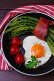 Asparagus in a pan with bacon Royalty Free Stock Images
