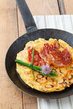 Asparagus pancakes with bacon Stock Images