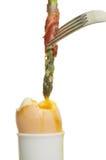 Asparagus pancetta egg Stock Photo