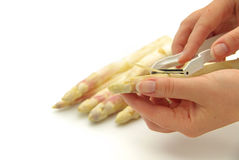 Asparagus peeling Royalty Free Stock Photo