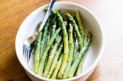 Asparagus. With a pinch of salt Royalty Free Stock Photo