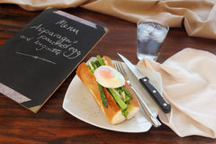Asparagus And Poached Eggs Stock Photos