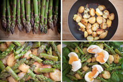 Asparagus, potatoes, spinach and eggs salad set. A set of images with ingredients and final result for a delicious, healthy spring salad with asparagus, roast Stock Images