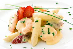 Asparagus with Prawns Stock Images