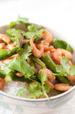 Asparagus and prawns Royalty Free Stock Photography
