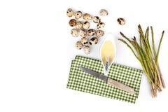 Asparagus, Quail Eggs And Mustard Mayonnaise Royalty Free Stock Photo
