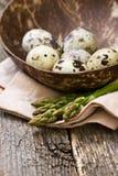 Asparagus, quail eggs Stock Photo