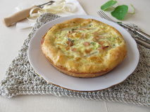 Asparagus quiche with cocked ham and herbs. Homemade asparagus quiche with cocked ham and herbs Royalty Free Stock Photos