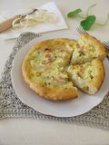 Asparagus quiche with cocked ham and herbs Royalty Free Stock Photography