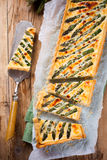Asparagus quiche with pecorino and bacon Royalty Free Stock Photography