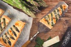 Asparagus quiche with pecorino and bacon Stock Photos