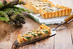 Asparagus quiche with pecorino and bacon Stock Image
