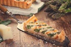 Asparagus quiche with pecorino and bacon Stock Photo