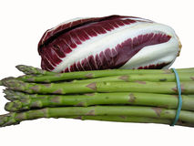 Asparagus and radicchio Stock Photography