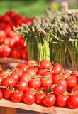 Asparagus and red tomatoes Royalty Free Stock Photo