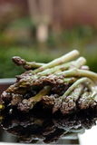 Asparagus reflected on a table outdoor Royalty Free Stock Image