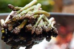 Asparagus reflected on a table outdoor Stock Photos
