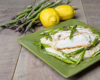 Asparagus risotto with chicken on green plate Stock Photography