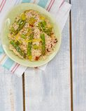 Asparagus  risotto. Asparagus and sun dried tomato risotto Stock Photos