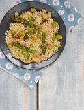 Asparagus  risotto. Asparagus and sun dried tomato risotto Royalty Free Stock Image