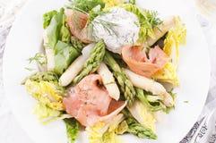 Asparagus salad. With smoked salmon stock photo