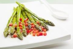 Asparagus Salad. Asparagus with red capsicum amd balsamic vinaigrette Stock Photos