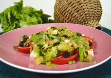Asparagus salad. Fresh mixed green salad with asparagus royalty free stock photos