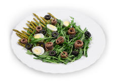 Asparagus salad with anchovies Stock Image