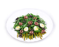 Asparagus salad with anchovies Royalty Free Stock Images