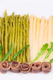 Asparagus salad with anchovies. Royalty Free Stock Images