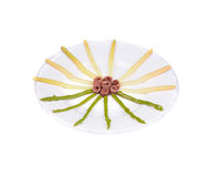 Asparagus salad with anchovies. Stock Photos