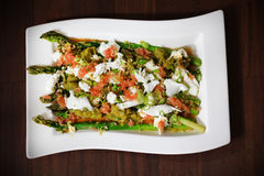Asparagus salad with grapefruit and mozzarella Stock Photo